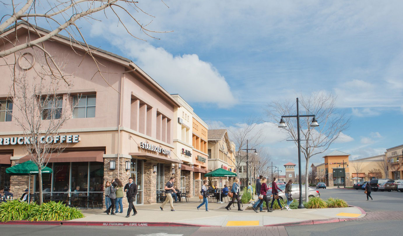 Photo of the bustling Capital Village center in Rancho Cordova.