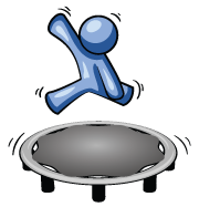 Icon of a figure jumping on a trampoline
