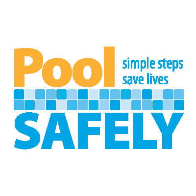 Logo for Pool Safely campaign. Simple steps save lives.