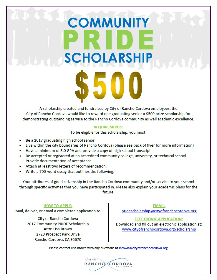 community pride scholarship city of rancho cordova 2017 pride scholarship flyer