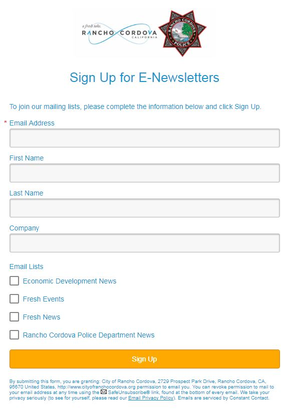 E-Newsletter Sign Up Form