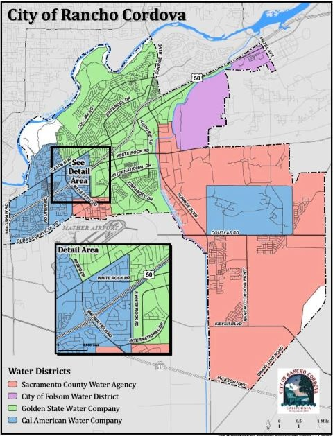 Water Districts Map for Rancho Cordova