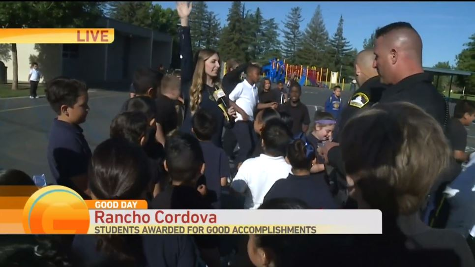 Screen capture of Good Day Sacramento coverage of Adopt-a-School program.
