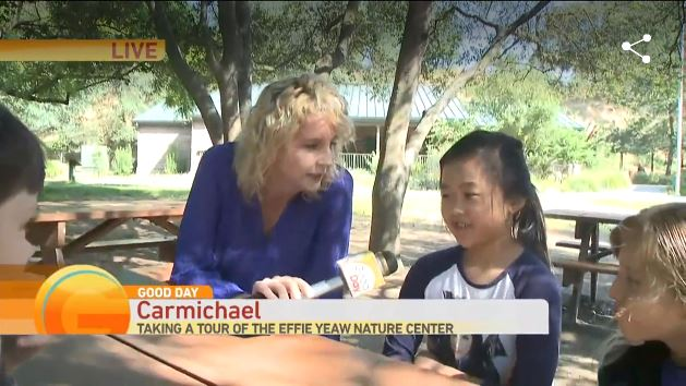 Screen capture of Good Day Sacramento coverage of Effie Yeaw Nature Center field trips.