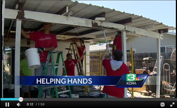 Screen capture of KCRA 3 coverage of 2016 Spring Rebuild Day.