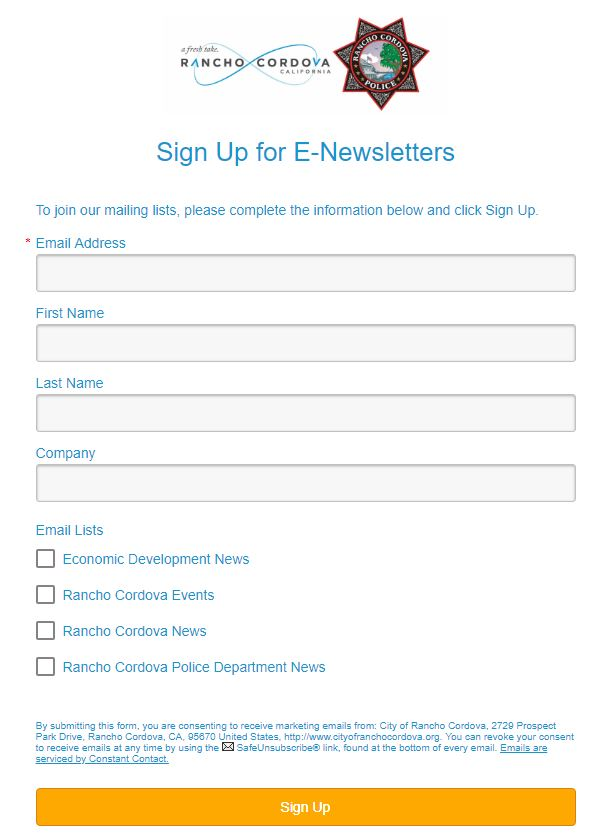 Sign Up for E-Newsletters Form