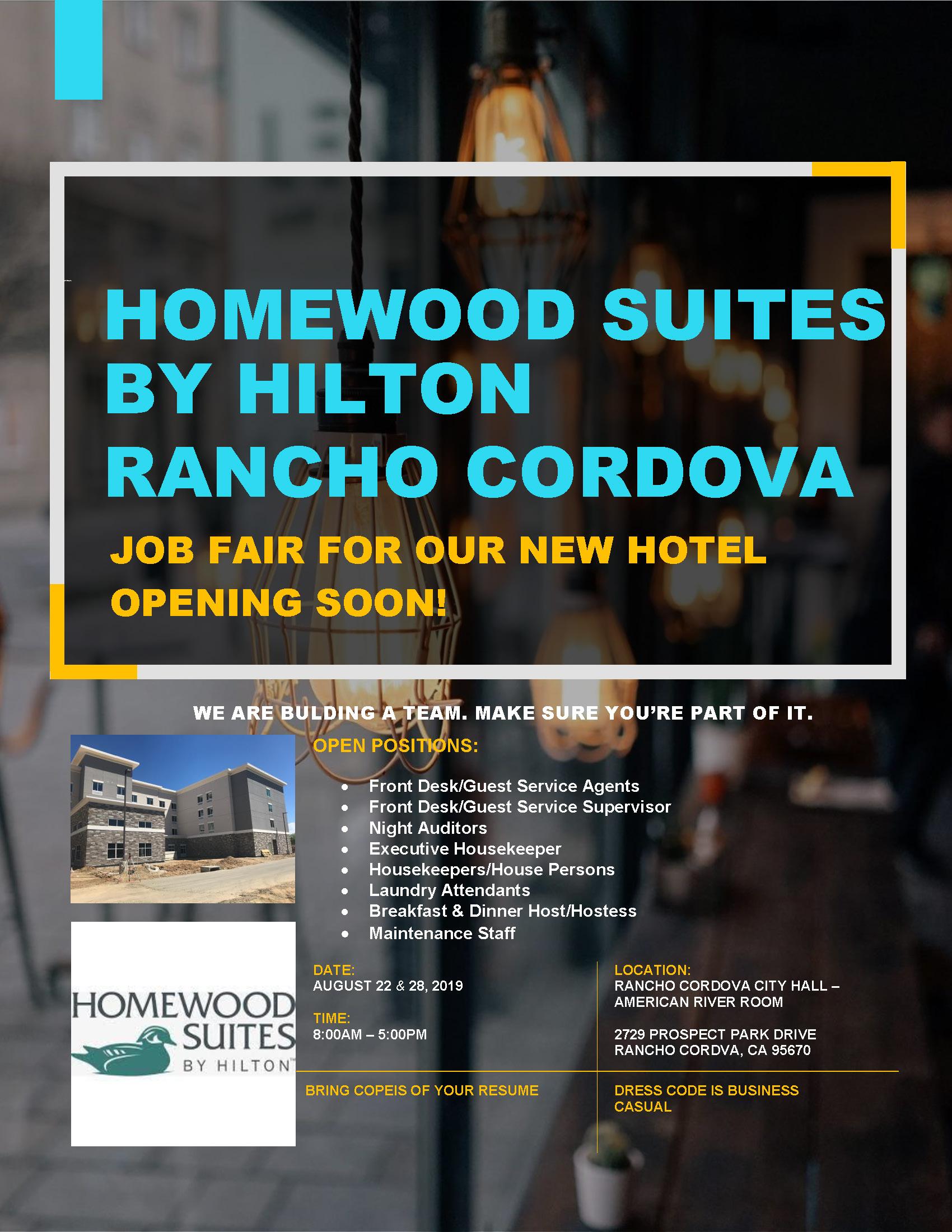 Homewood Suites by Hilton Rancho Cordova Job Fair   Events