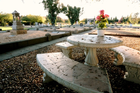 Benches are placed throughout Kilgore Cemetery to provide seating areas for visitors.