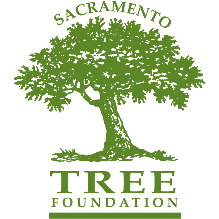 Logo for the Sacramento Tree Foundation that includes text and a tree.